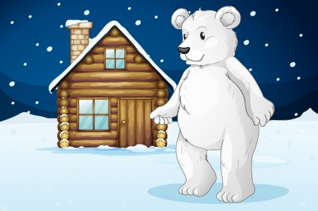 llustration of a cabin and a polar bear in a beautiful nature Stock Vector - 17662877