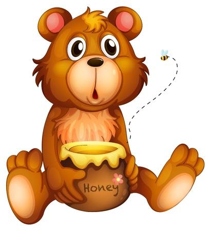 pot miel: Illustration d'un visage choquant d'un ours sur un fond blanc