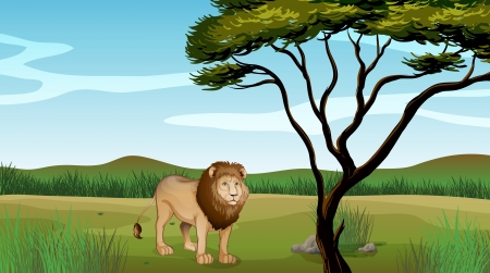 Illustration of a lion on a mountain scenery