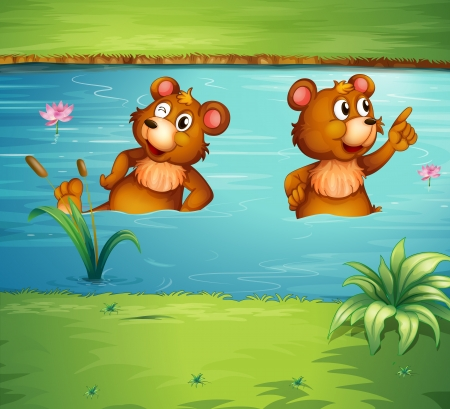 two animals: Illustration of two animals in the pond
