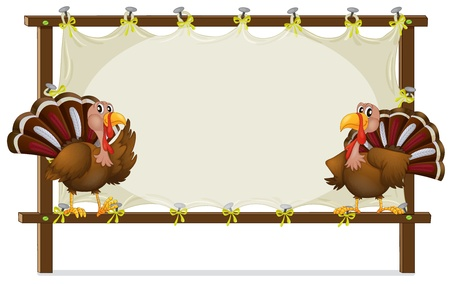 caruncle: Illustration of the two turkeys on a white background Illustration