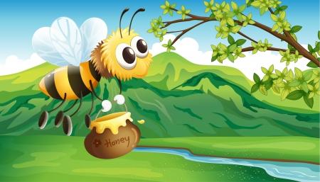bringing: Illustration of a bee bringing a honey