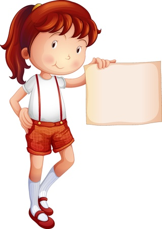 girl in shorts: Illustration of a child showing a piece of paper on a white background