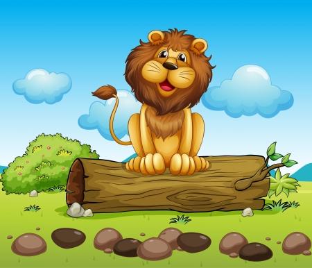 lion drawing: Illustrazione di un leone felice su un tronco di un albero