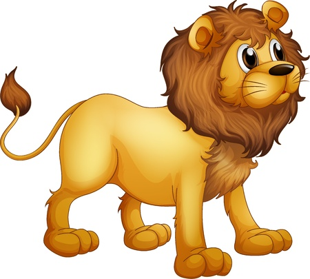 Illustration of a strong lion in a white background Vector