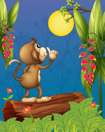 Illustration of a monkey looking at the moon  Vector