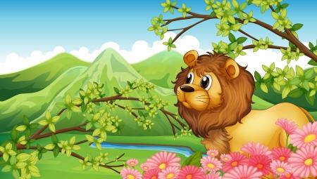 Ilustracja lew w widokiem na góry
