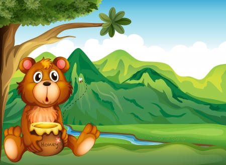 riverbank: Illustration of a bear in the riverbank Illustration