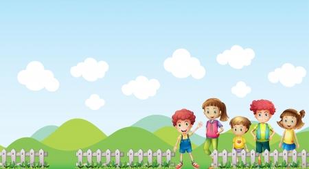 familia parque: Ilustraci�n de los ni�os en la granja