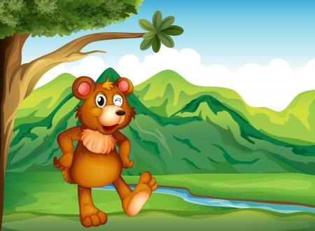 teddybear: Illustration of an animal playing near the mountain