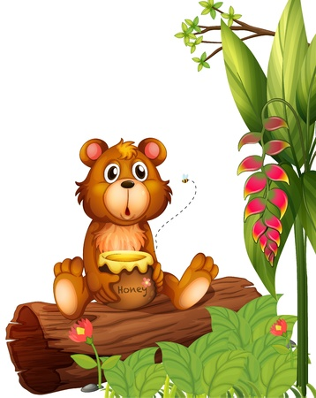 Illustration of a beaver holding a pot of honey on a white background Vector