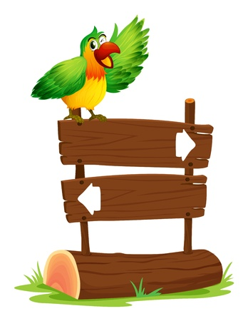 direction board: Illustration of a parrot standing above a sign board on a white background Illustration
