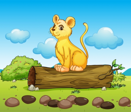 bush babies: Illustration of a little lion above a log