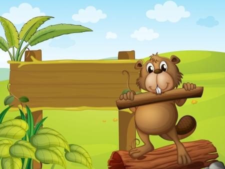biber: Illustration eines Bibers mit einem Holz