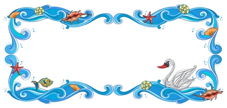 starfish: Illustration of a frame of sea creatures on a white background Illustration