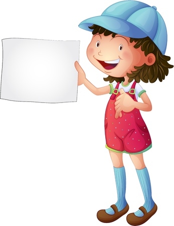 Illustration of a smiling girl with an empty sketch pad on a white background Vector