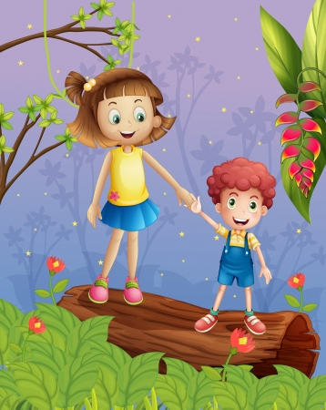 hands holding tree: Illustration of a young kady and a young boy in the forest