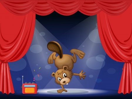 Illustration of a beaver at the stage Vector