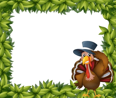 caruncle: Illustration of a turkey and the leafy frame on a white background