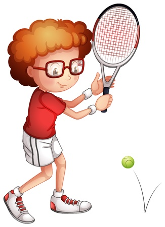 Illustration of a girl playing tennis on a white background Vector