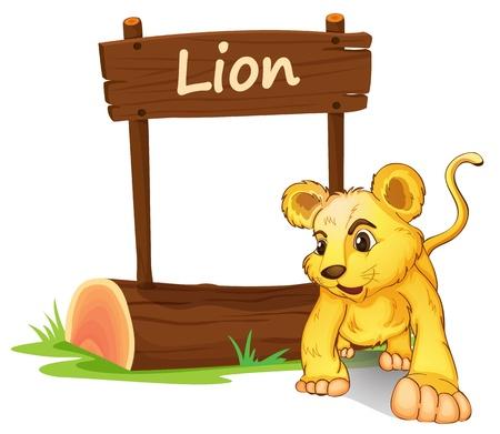 Illustration of a little lion on a white background Vektorové ilustrace