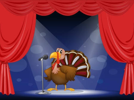 Illustration of a turkey in the center of a stage Stock Vector - 17892684