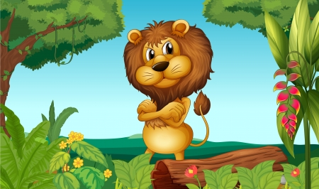lion tail: Illustration of a lion standing in the woods Illustration