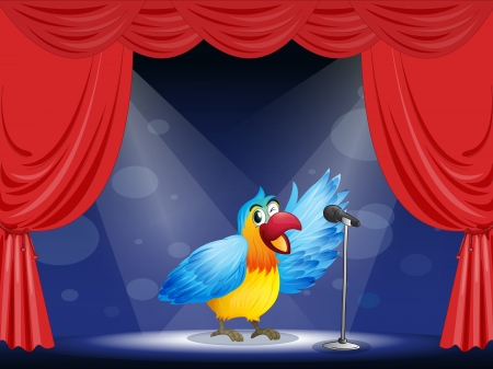 Illustration of a colorful parrot at the center of the stage Stock Vector - 17892670