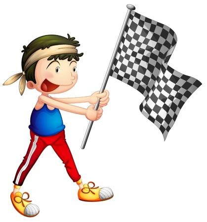 d�part course: Illustration d'un athl�te tenant un drapeau sur un fond blanc