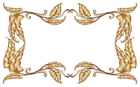 elliptic: Illustration of a frame of leaves on a white background