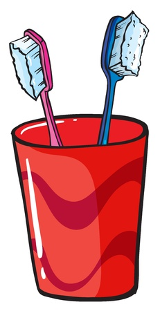 regimen: Illustration of toothbrush inside a red glass on a white background