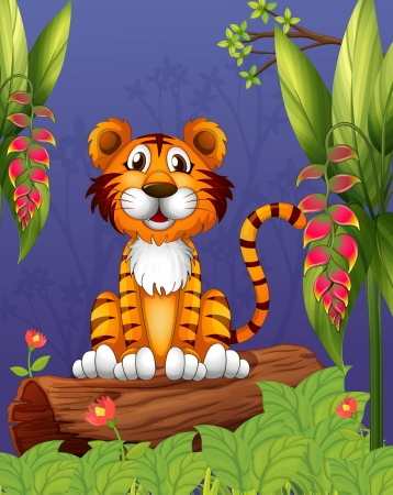 Illustration of a tiger sitting in a wood Vector