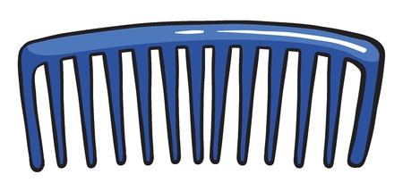 neatness: Illustration of a blue comb on a white background