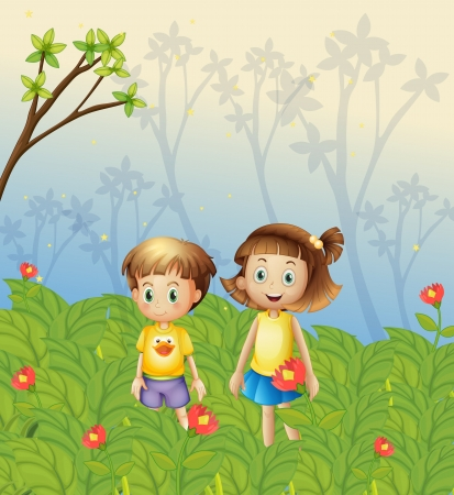 young girls nature: Illustration of a girl and a boy in the garden