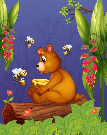 Illustration of a bear with three bees in the forest Vector