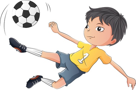 kicking ball: Illustration of a little boy playing soccer on a white background