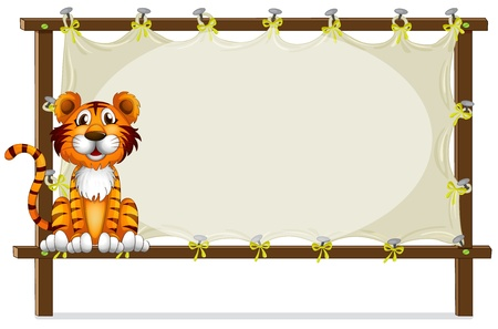 cartoon banner: Illustration of a tiger inside a frame
