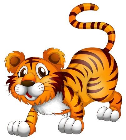 Ilustración de un tigre en una posición de saltar sobre un fondo blanco