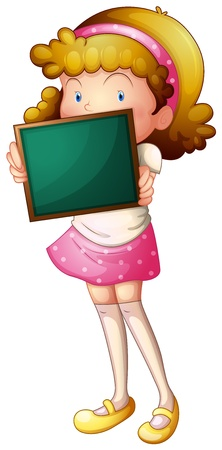 Illustration of a young lady with a green board on a white background Vector