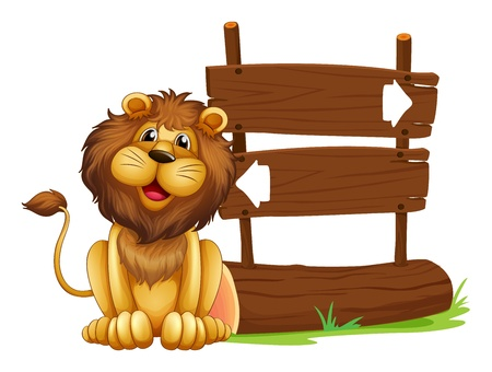 Illustration of a lion sitting beside a signboard on a white background