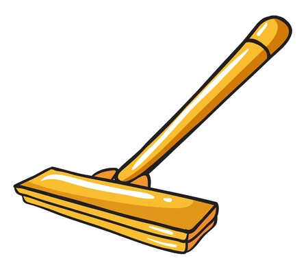 Illustration of a yellow mop on a white background Vector