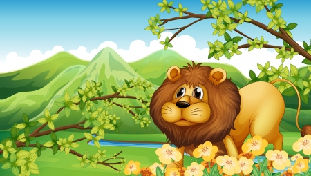 Illustration of a lion in a green mountain area