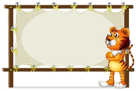 Illustration of a tiger standing beside a wooden frame on a white background Vector