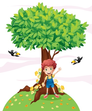 under tree: Illustration of a young boy standing under a big tree with two birds on a white background