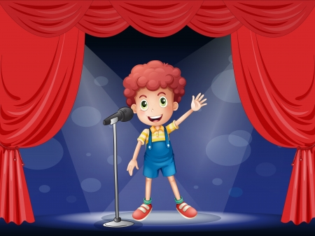 Illustration of a boy performing on the stage Vector