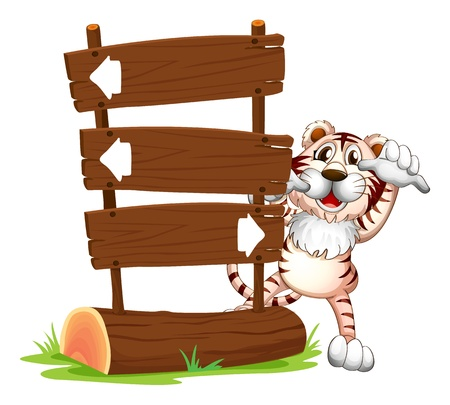 back and forth: Illustration of a tiger hiding at the back of a signboard
