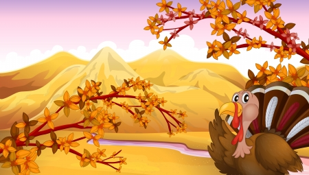 caruncle: Illustration of a turkey in an autumn view