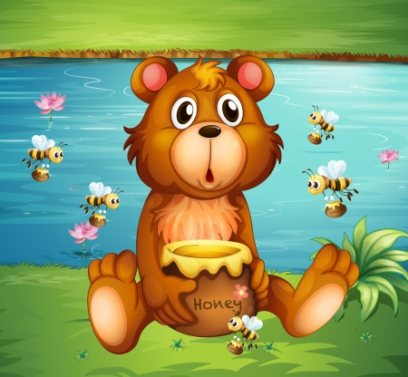 Illustration of a bear and bees near the river Vector