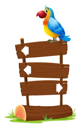 back and forth: Illustration of a bird standing on a wooden signboard on a white background Illustration