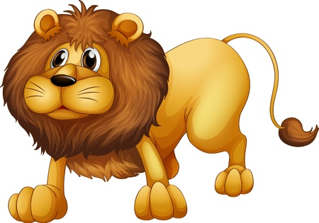 Illustration of a scary lion on a white background  Vector